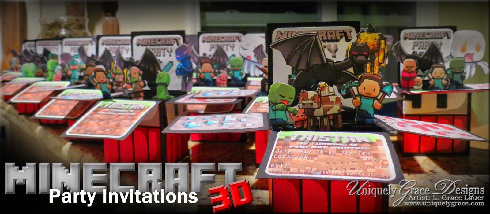 minecraft 3d box birthday party invitations custom handmade cards
