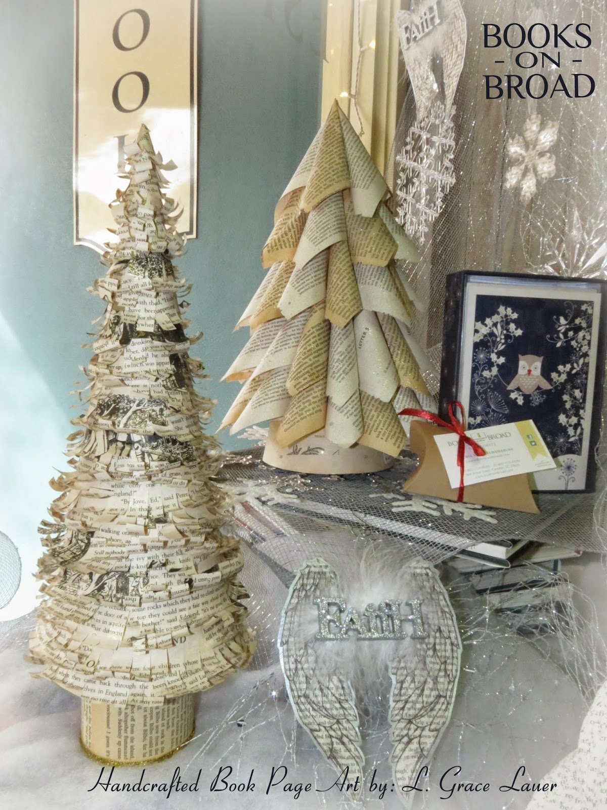 Book page christmas trees just in time to decorate for the for Art book decoration ideas
