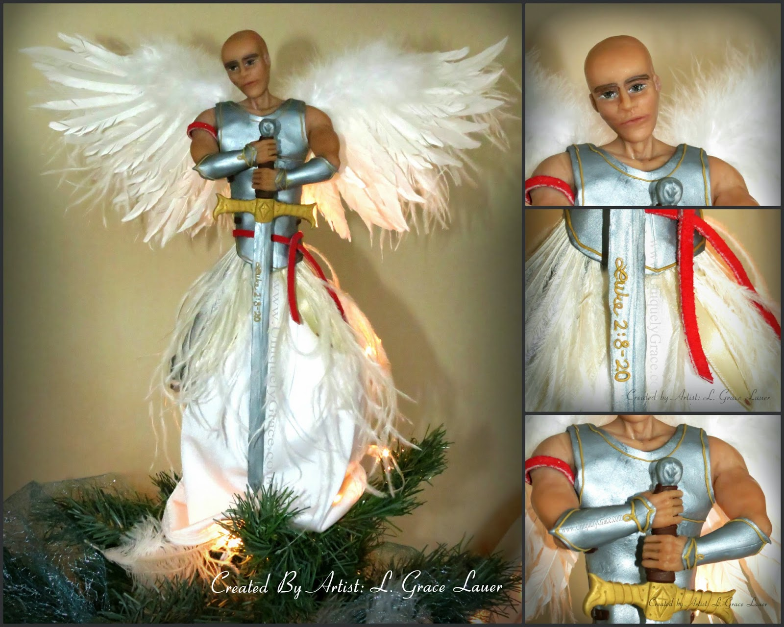 Guardian Warrior Angel Christmas Tree Topper OOAK Male Clay  - Christmas Tree Angel Toppers