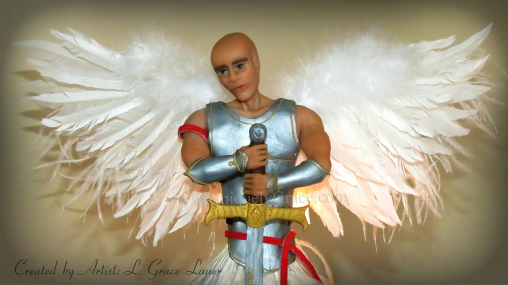They are covered in 3 kinds of feathers, white goose, white ostrich and  marabou feathers. There are over 60 goose feathers in the wings and all are  hand ... - Guardian Warrior Angel Christmas Tree Topper - OOAK Male Clay