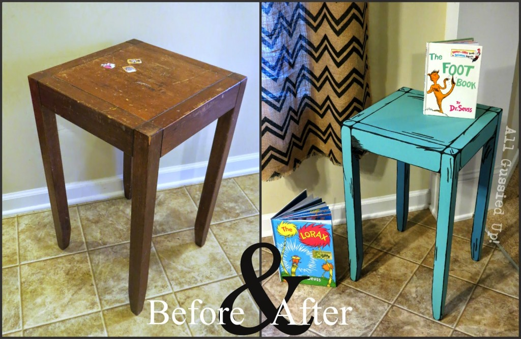 Dr. Seuss Illustrations Inspired Night Stand And Table U2013 Hand Painted Chalk  Paint