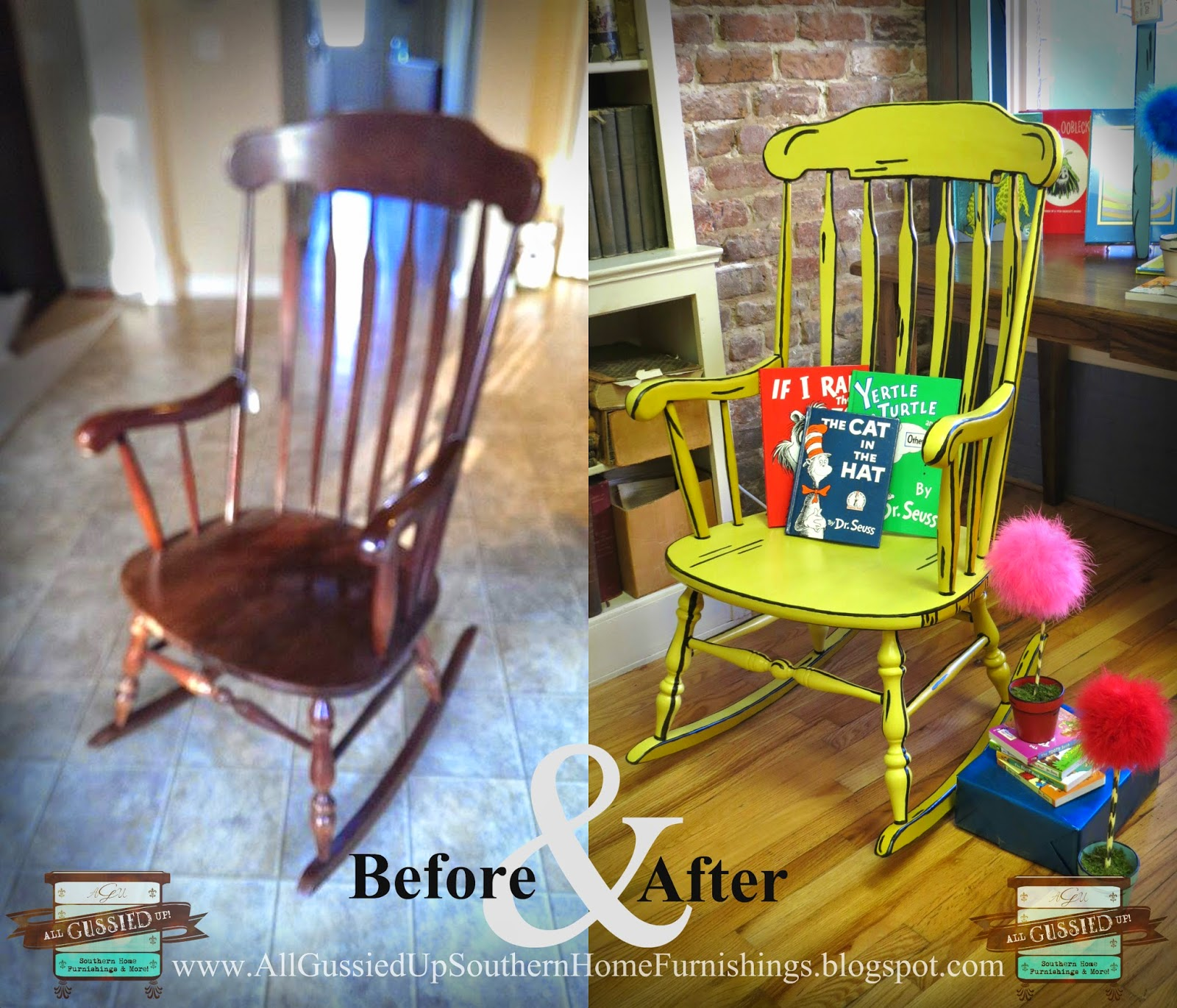 Yellow-before-and-after-truffula-Rocking-chair-all-gussied-up-books-on-broad-camden-south-carolina-columbia-sc-chalk-paint-furniture-1