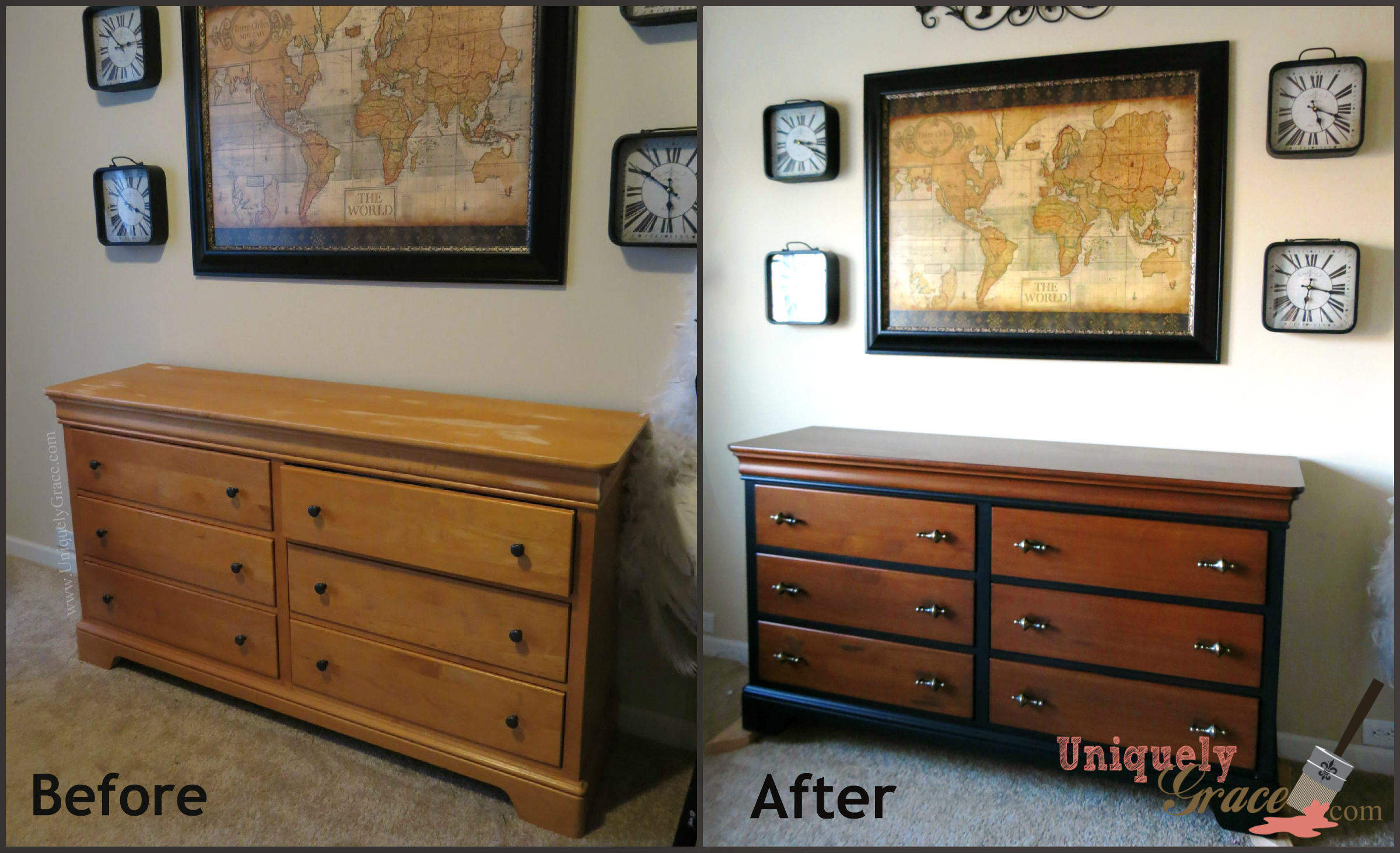 Refinished furniture gallery uniquely grace designs - Before and after old dressers makeover with a little paint ...