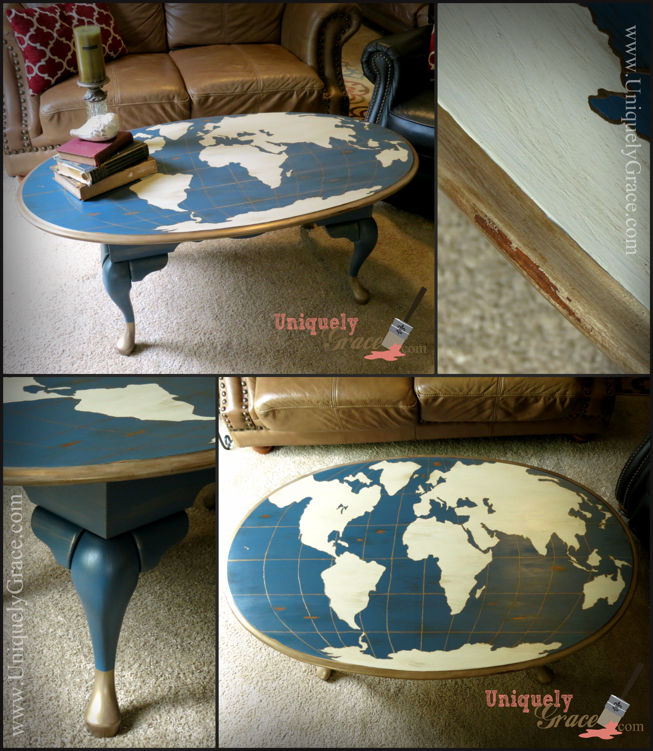 Globe Coffee Table free hand chalk painted work in progress cre8time uniquely grace lauger