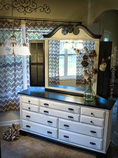 Mrs.-Haywards-Colonial-Dresser-makeover-chalk-acrylic-paint-uniquely-Grace-Lauer-shutters-mirror-