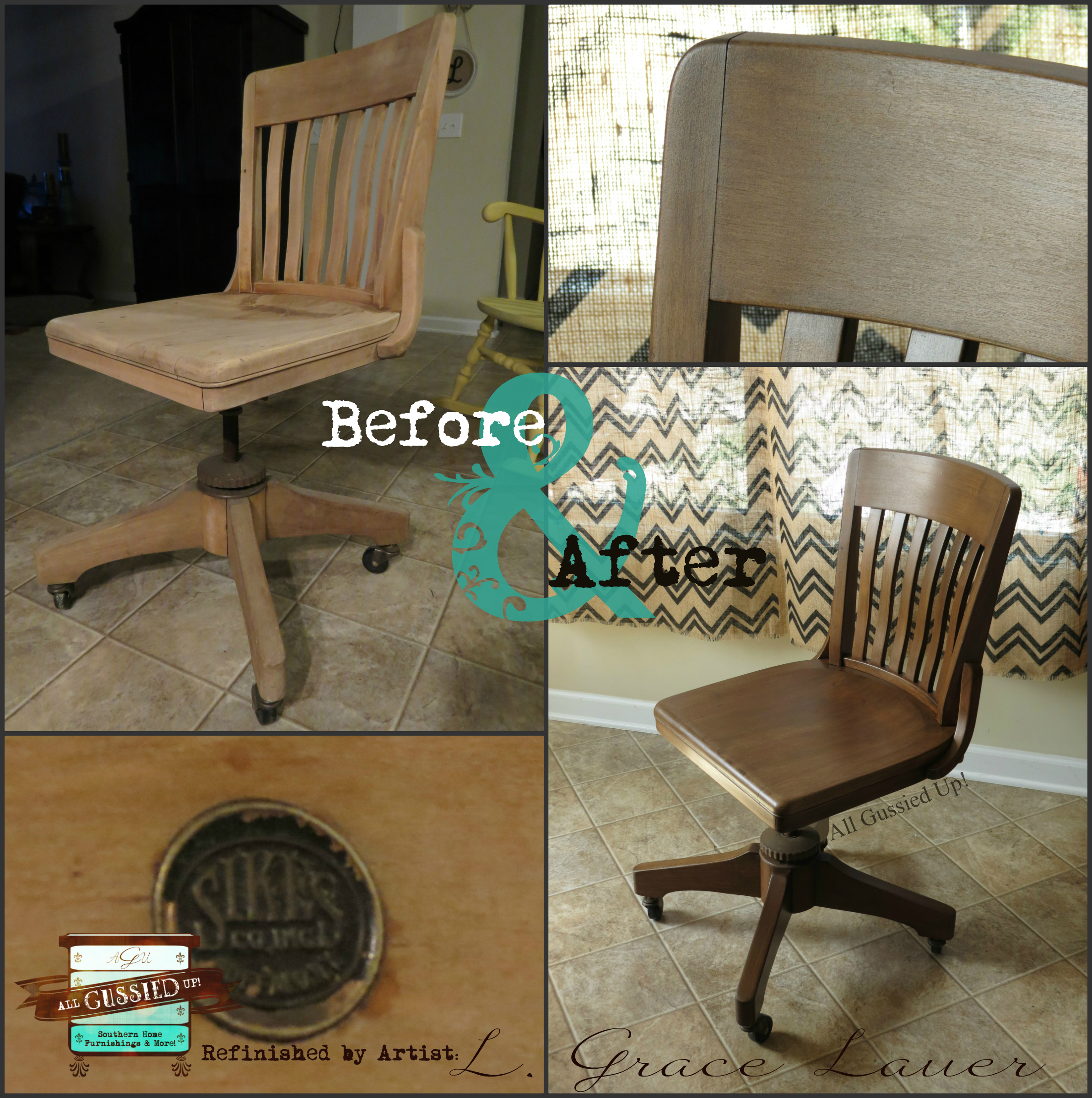 Sikes office chair mahogany hazelnut revax old gold shimmer shabby paints All Gussied Up L Grace Lauer