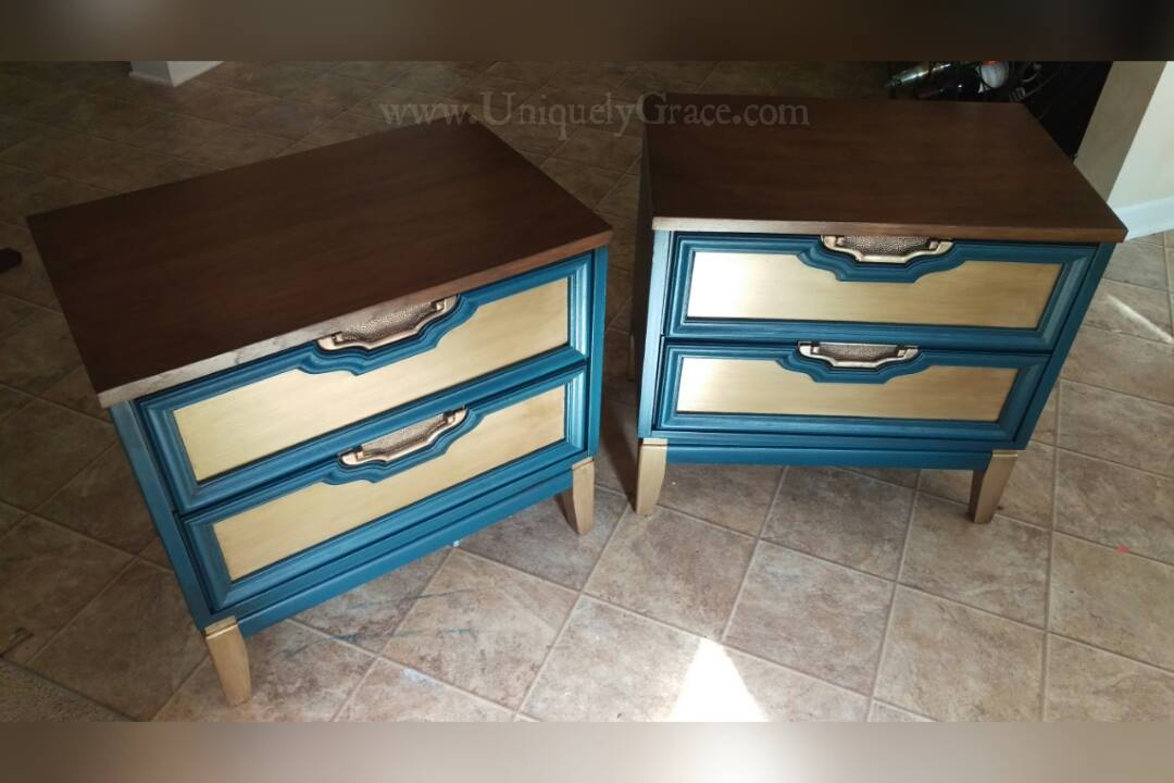 ... Gemini Sun Metallic Reflecting Nightstands End Tables Refinished  Refurbished Handpainted Shabby Paints Uniquely Grace ...
