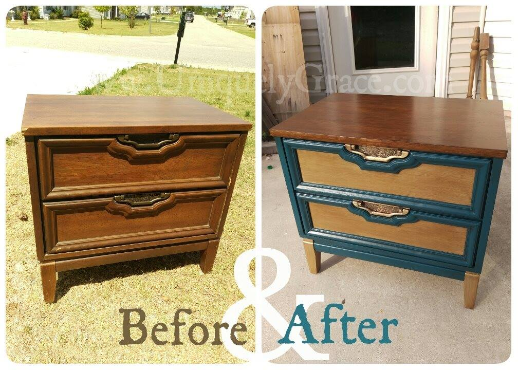 2 Vintage Refinished Nightstands End Tables