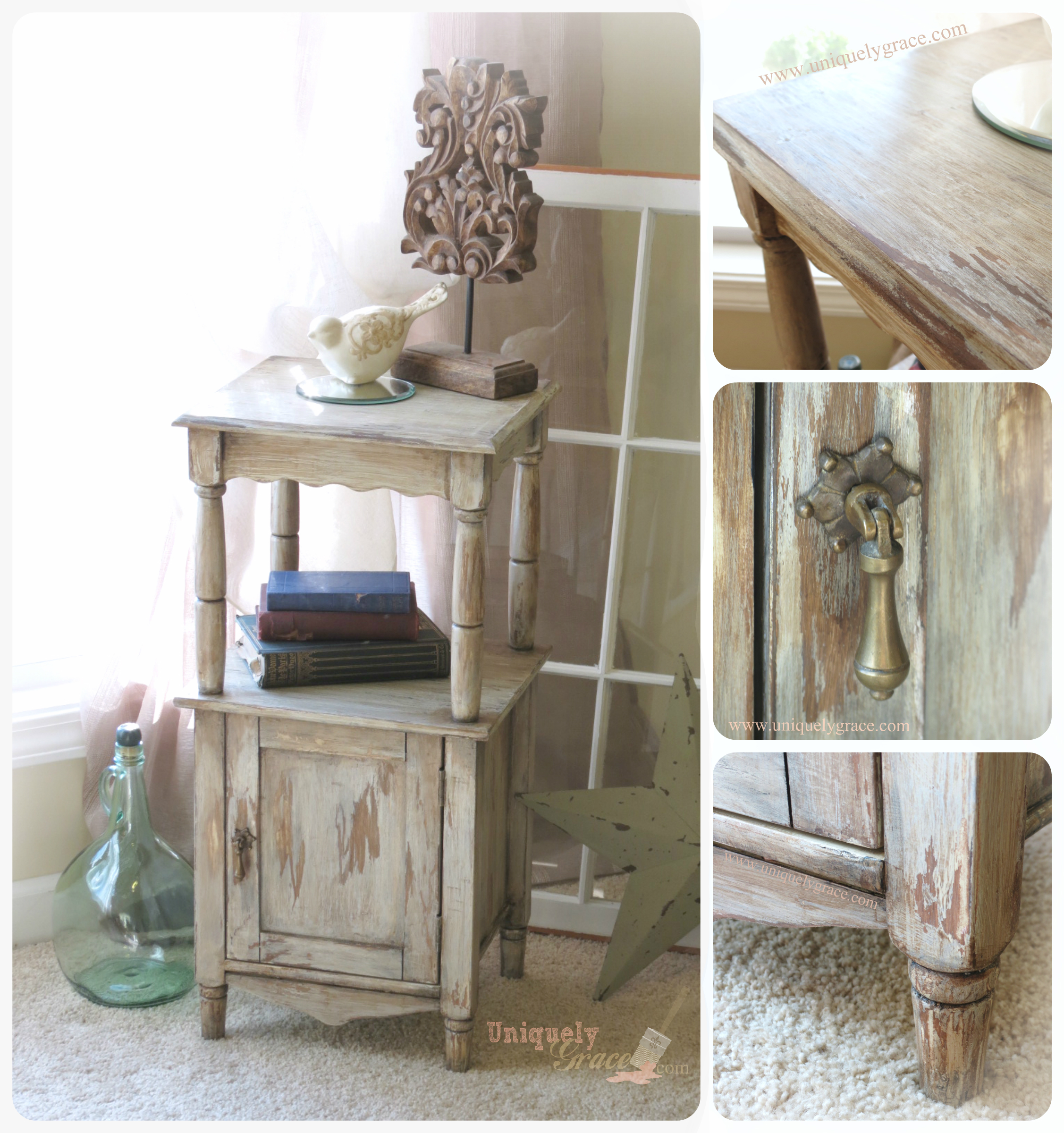 Shabby Chic paints shimmer chalk acrylic chippy distressed laminate pressed wood uniquely grace end table night stand cabinet