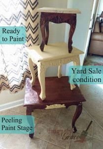 Nesting tables peeling latex paint wood fail clean up prep work uniquely grace