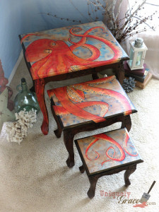 Oscar The Octopus logo Nesting Table Set Handpainted Uniquely Grace Shabby Paints Chalk Paint night stand end table