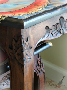 Oscar the Octopus Close logo wood distressed edges Hazelnut black revax brown bronze shimmer antiquing glaze uniquely grace Shabby paints