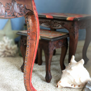 Oscar the Octopus tentacle leg logo close up uniquely Grace shabby paints nesting table furniture makever art