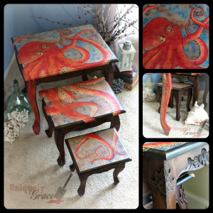 SM Collage oscar the octopus uniquely grace shabby paints nesting table refinish reuse hand painted art artist wood flip