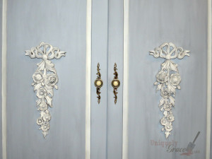Antoinette Armoire close up lillian grey black revax snow white shabby paints uniquely grace