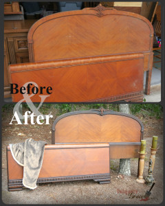 Before and after art deco waterfall headboard footboard shabby paints refinished uniquely grace drab to fab wow