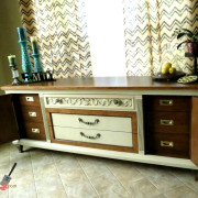 Drexel Buffet 80 inch cabinet doors open vanilla bear hazelnut Revax black burled wood uniquely grace shabby paints