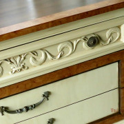 Drexel Buffet 80 inch front drawer close up angle vanilla bear hazelnut Revax black burled wood uniquely grace shabby paints