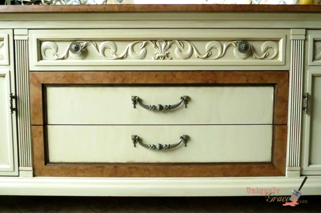Drexel Buffet 80 inch front drawer close up vanilla bear hazelnut Revax black burled wood uniquely grace shabby paints