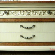 Drexel Buffet 80 inch front drawer close up vanilla bear hazelnut Revax black burled wood uniquely grace shabby paints