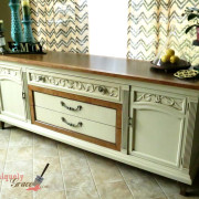 Drexel Buffet 80 inch front drawer full length vanilla bear hazelnut Revax black burled wood uniquely grace shabby paints