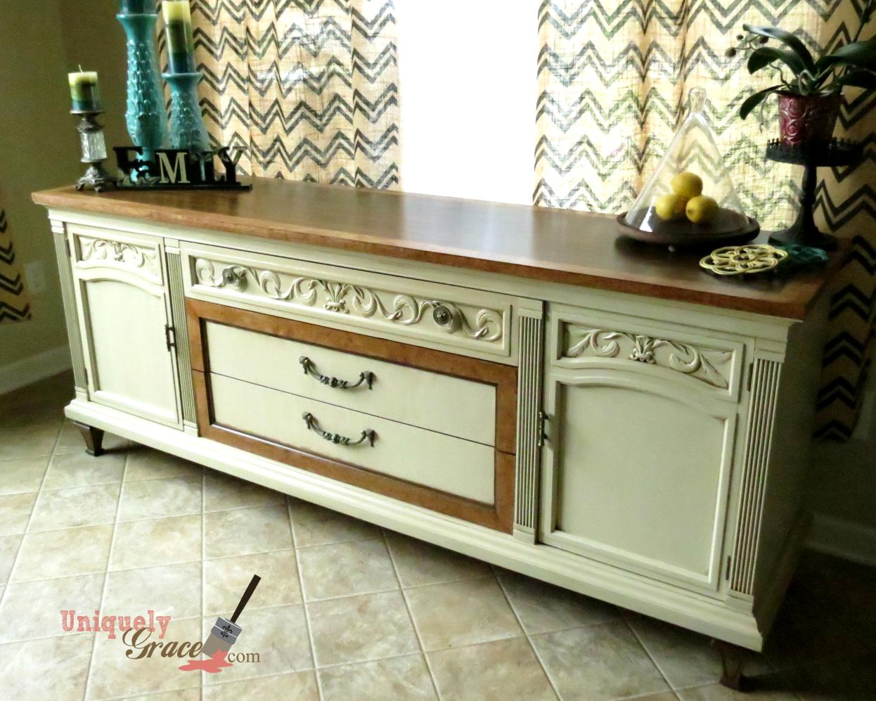 Drexel Buffet 80 inch front drawer full length vanilla bear hazelnut Revax black burled wood uniquely grace shabby paints