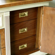 Drexel Buffet 80 inch top open cabinet right vanilla bear hazelnut Revax black burled wood uniquely grace shabby paints