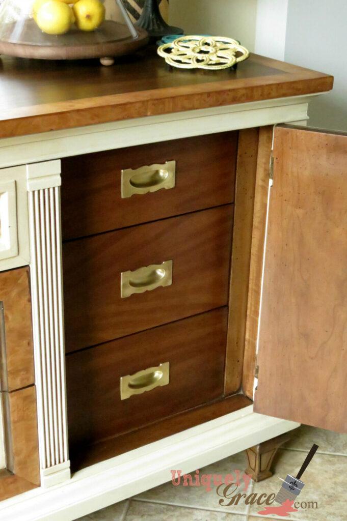 Drexel Buffet 80 inch top open cabinet right vanilla bear hazelnut Revax black burled wood uniquely grace shabby paints
