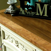 Drexel Buffet 80 inch top view close up vanilla bear hazelnut Revax black burled wood uniquely grace shabby paints