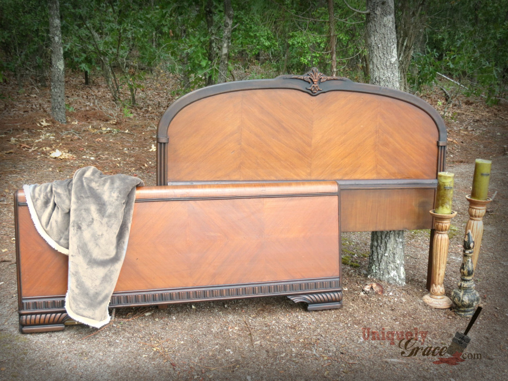 Renee Full headboard footboard vintage wood veneer hazelnut black revax licorice chalk paint shaby paints uniquely grace