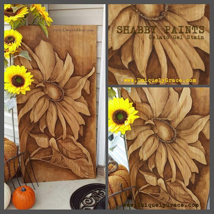 Shabby paints sunflower fall autumn gel stain art uniquely grace