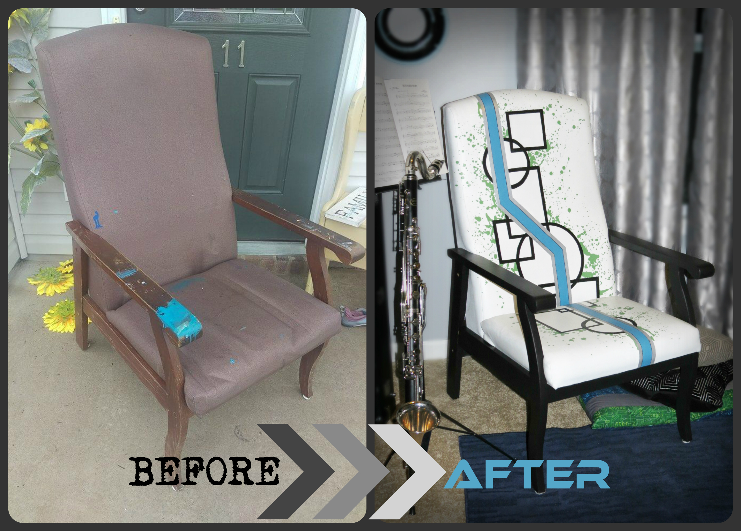 Beofre after geometric makeover painted furniture shabby painte painted fabric upholstery Uniquely Grace