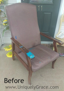 before photo of hotel chair makeover uniquely grace shabby paints fabric painted geometric reading wood