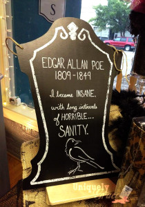 Edgar Allan Pow tombstone wall art hanging uniquely grace raven quote