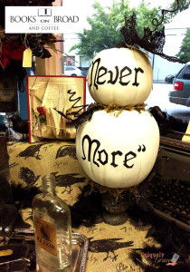 Nevermore pumpkin stack on urn hand painted shabby paints Uniquely grace