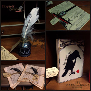 Nevermore raven writing quill parchment window display edgar poe Collage