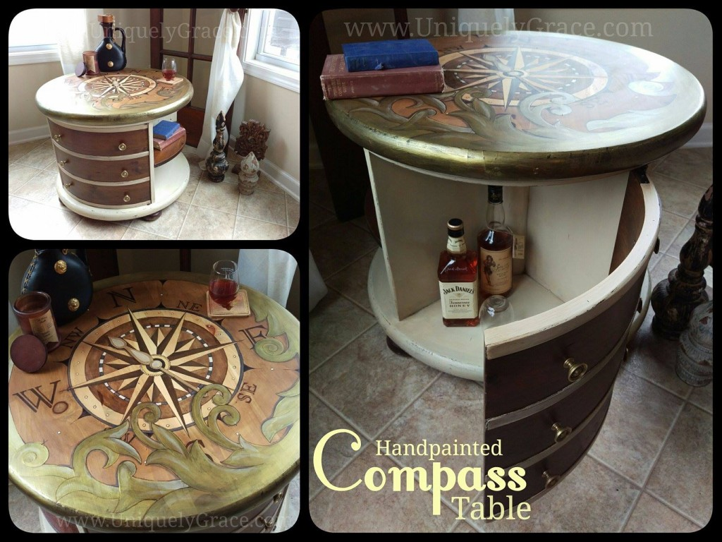 Bar Glass drink Compass explore uniquely grace shabby paints old vibrant gold smoked pearl vanilla bear chalk shimmer drum library table solid wood refinish beautiful one of a kind OOAK