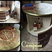 "Bar Glass drink Compass explore uniquely grace shabby paints old vibrant gold smoked pearl vanilla bear chalk shimmer drum library table solid wood  refinish  beautiful one of a kind OOAK<span class=""wc-embed-price""><span class=""amount"">$560.00</span></span>"