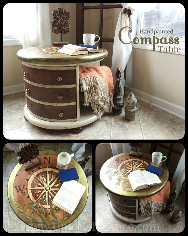 Read book coffee tea Compass explore uniquely grace shabby paints old vibrant gold smoked pearl vanilla bear chalk shimmer drum library table solid wood furniture flip refinish  beautiful