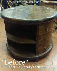 before Compass explore uniquely grace shabby paints old vibrant gold smoked pearl vanilla bear chalk shimmer drum library table solid wood furniture flip refinish beautiful one of a kind OOAK