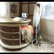"reader Compass explore uniquely grace shabby paints old vibrant gold smoked pearl vanilla bear chalk shimmer drum library table solid wood furniture flip refinish  beautiful one of a kind OOAK<span class=""wc-embed-price""><span class=""amount"">$560.00</span></span>"