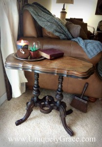 Edgar Victorian Parlor Table Circa 1870 black chalk paint wood inlay walnut rosewood uniquely grace