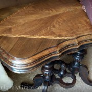 Edgar Victorian Parlor Table Circa 1870 black chalk paint wood inlay walnut rosewood uniquely grace close up of top