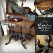 Edgar Victorian Parlor Table Circa 1870 black chalk paint wood inlay walnut rosewood uniquely grace collage