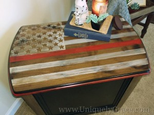 Thin Red Line Flag Magazine Table top franklin uniquely grace chalk paint firefighter fire department fireman