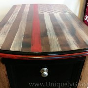 Thin Red Line Flag Magazine Table top franklin uniquely grace chalk paint firefighter fire department fireman top edge closeup