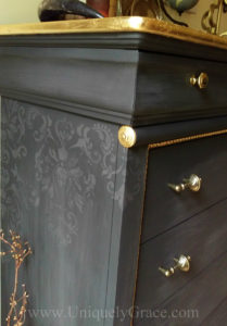 LOGO Damask stencil close up side dresser gold leaf vintage pulls drawers pure original uniquely grace