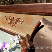 Vintage Mahogany headboard bed scroll egg dart copper penny patina technique uniquely grace terra bella