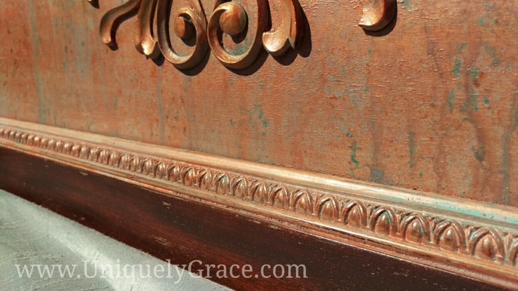 Vintage mahogany headboard egg dart molding copper penny shimmer paint patina chalk acrylic uniquely grace terra bella