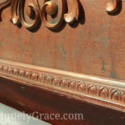 "Vintage mahogany headboard egg dart molding copper penny shimmer paint patina chalk acrylic uniquely grace terra bella<span class=""wc-embed-price""><span class=""amount"">$225.00</span></span>"